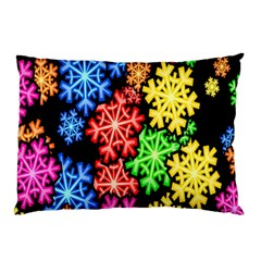 Colourful Snowflake Wallpaper Pattern Pillow Case by Nexatart