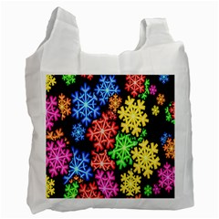 Colourful Snowflake Wallpaper Pattern Recycle Bag (two Side)  by Nexatart