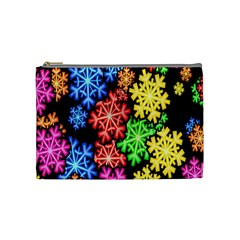 Colourful Snowflake Wallpaper Pattern Cosmetic Bag (medium)