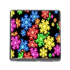 Colourful Snowflake Wallpaper Pattern Memory Card Reader (square)