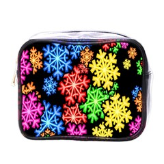 Colourful Snowflake Wallpaper Pattern Mini Toiletries Bags by Nexatart