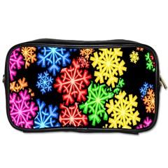 Colourful Snowflake Wallpaper Pattern Toiletries Bags by Nexatart