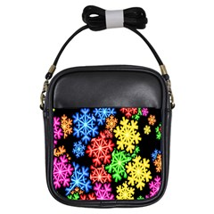 Colourful Snowflake Wallpaper Pattern Girls Sling Bags by Nexatart