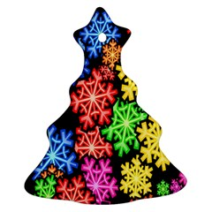 Colourful Snowflake Wallpaper Pattern Ornament (christmas Tree)  by Nexatart