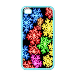 Colourful Snowflake Wallpaper Pattern Apple Iphone 4 Case (color)