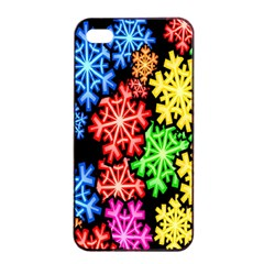 Colourful Snowflake Wallpaper Pattern Apple Iphone 4/4s Seamless Case (black) by Nexatart