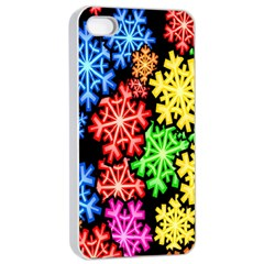 Colourful Snowflake Wallpaper Pattern Apple Iphone 4/4s Seamless Case (white) by Nexatart