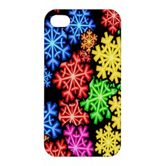 Colourful Snowflake Wallpaper Pattern Apple Iphone 4/4s Premium Hardshell Case by Nexatart