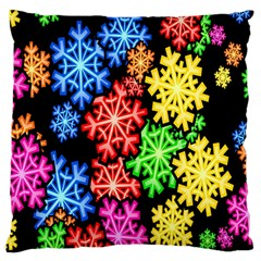 Colourful Snowflake Wallpaper Pattern Large Cushion Case (two Sides)