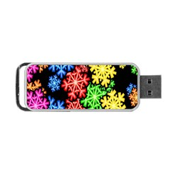Colourful Snowflake Wallpaper Pattern Portable Usb Flash (one Side) by Nexatart