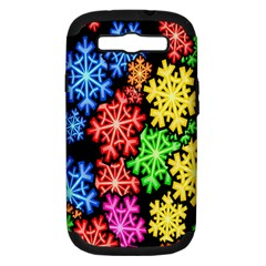 Colourful Snowflake Wallpaper Pattern Samsung Galaxy S Iii Hardshell Case (pc+silicone) by Nexatart