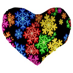 Colourful Snowflake Wallpaper Pattern Large 19  Premium Heart Shape Cushions by Nexatart