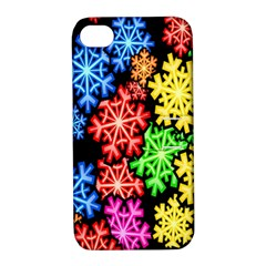 Colourful Snowflake Wallpaper Pattern Apple Iphone 4/4s Hardshell Case With Stand by Nexatart