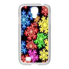 Colourful Snowflake Wallpaper Pattern Samsung Galaxy S4 I9500/ I9505 Case (white) by Nexatart