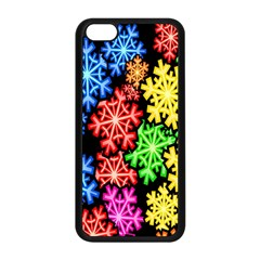 Colourful Snowflake Wallpaper Pattern Apple Iphone 5c Seamless Case (black)
