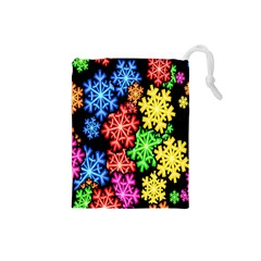 Colourful Snowflake Wallpaper Pattern Drawstring Pouches (small)