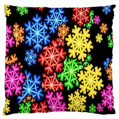 Colourful Snowflake Wallpaper Pattern Large Flano Cushion Case (one Side)