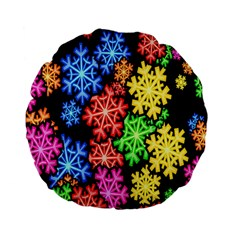 Colourful Snowflake Wallpaper Pattern Standard 15  Premium Flano Round Cushions