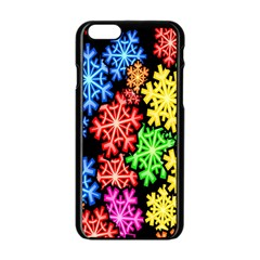 Colourful Snowflake Wallpaper Pattern Apple Iphone 6/6s Black Enamel Case by Nexatart