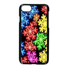 Colourful Snowflake Wallpaper Pattern Apple Iphone 7 Seamless Case (black) by Nexatart
