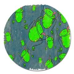 Cartoon Grunge Frog Wallpaper Background Magnet 5  (round) by Nexatart