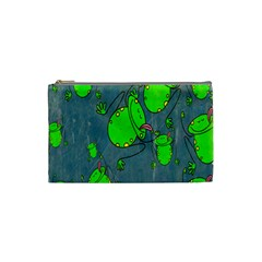 Cartoon Grunge Frog Wallpaper Background Cosmetic Bag (small)  by Nexatart