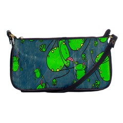 Cartoon Grunge Frog Wallpaper Background Shoulder Clutch Bags by Nexatart
