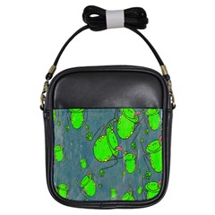 Cartoon Grunge Frog Wallpaper Background Girls Sling Bags by Nexatart