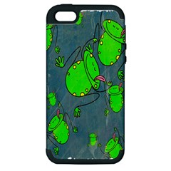 Cartoon Grunge Frog Wallpaper Background Apple Iphone 5 Hardshell Case (pc+silicone)