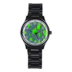 Cartoon Grunge Frog Wallpaper Background Stainless Steel Round Watch by Nexatart