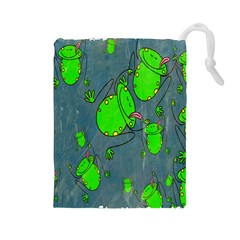 Cartoon Grunge Frog Wallpaper Background Drawstring Pouches (large)