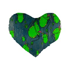 Cartoon Grunge Frog Wallpaper Background Standard 16  Premium Flano Heart Shape Cushions