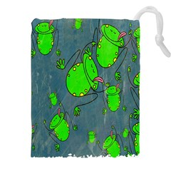 Cartoon Grunge Frog Wallpaper Background Drawstring Pouches (xxl) by Nexatart