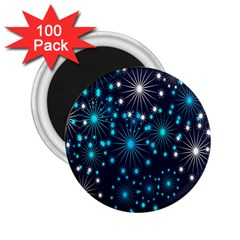 Digitally Created Snowflake Pattern Background 2 25  Magnets (100 Pack)