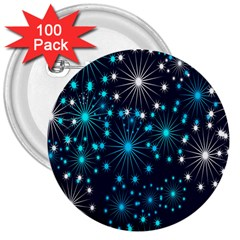 Digitally Created Snowflake Pattern Background 3  Buttons (100 Pack)