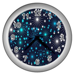 Digitally Created Snowflake Pattern Background Wall Clocks (silver)  by Nexatart