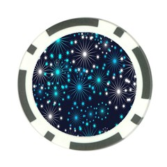 Digitally Created Snowflake Pattern Background Poker Chip Card Guard (10 Pack) by Nexatart