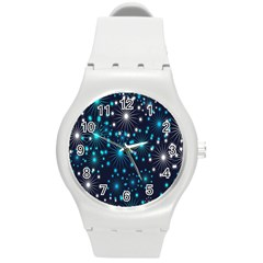 Digitally Created Snowflake Pattern Background Round Plastic Sport Watch (m)