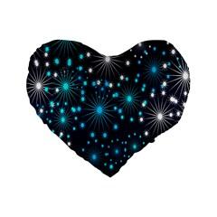 Digitally Created Snowflake Pattern Background Standard 16  Premium Flano Heart Shape Cushions