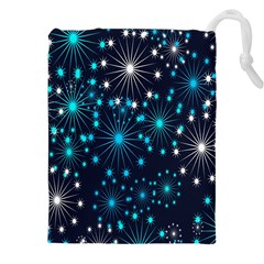 Digitally Created Snowflake Pattern Background Drawstring Pouches (xxl) by Nexatart