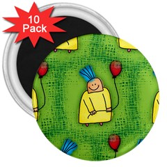 Party Kid A Completely Seamless Tile Able Design 3  Magnets (10 Pack)  by Nexatart