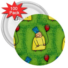 Party Kid A Completely Seamless Tile Able Design 3  Buttons (100 Pack)  by Nexatart