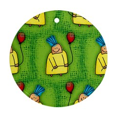 Party Kid A Completely Seamless Tile Able Design Round Ornament (two Sides)