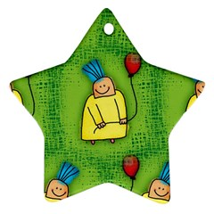 Party Kid A Completely Seamless Tile Able Design Star Ornament (two Sides) by Nexatart
