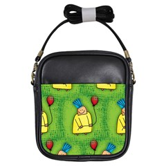 Party Kid A Completely Seamless Tile Able Design Girls Sling Bags by Nexatart