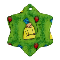 Party Kid A Completely Seamless Tile Able Design Snowflake Ornament (two Sides)