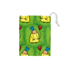Party Kid A Completely Seamless Tile Able Design Drawstring Pouches (small)