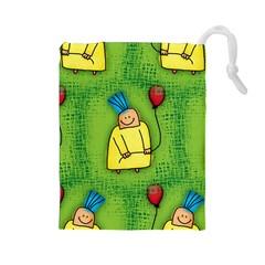 Party Kid A Completely Seamless Tile Able Design Drawstring Pouches (large)  by Nexatart