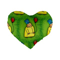 Party Kid A Completely Seamless Tile Able Design Standard 16  Premium Flano Heart Shape Cushions by Nexatart