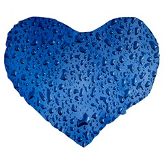 Water Drops On Car Large 19  Premium Flano Heart Shape Cushions by Nexatart